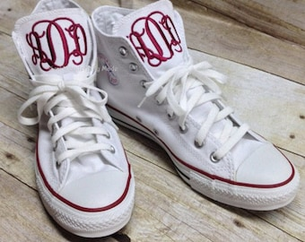 Monogrammed Converse - Chuck Taylors - High Top Converse - Monogrammed Shoes - Men and Women