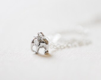 Mini Elephant Necklace Silver, good luck charm, Elephant charm