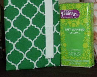 Everyday Purse or Pocket Tissue Cover - Beautiful Green and White Print