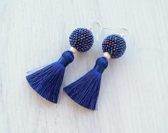 Short Royal blue Silk Tassel earrings - Boho Tassels - Luxury Silk tassle earrings - Dangle tassle earrings - Modern Party tassel earrings