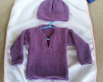 Merino Sweater and Hat set 3-6 month old