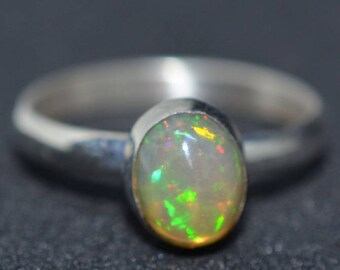 Ethiopian Opal ring. Ring With Precious Opal. Statement Ring. Gemstone and Sterling silver. October Birthstone Jewelry. Gift Idea