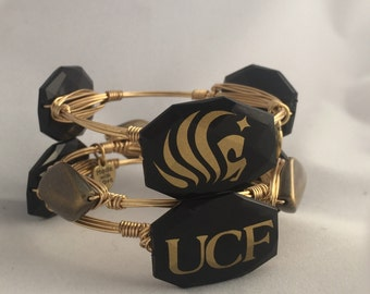 UCF Knights Wire Wrapped Bangle Bracelet Set   Of 3 University of Central Florida Knight Game Day Bangle Bracelets