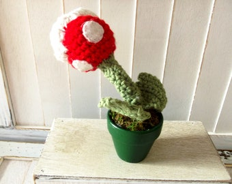 Gamer Plushie - Man Eating Plant - Monster Flower - Crochet Plushie - Amigurumi Monster - Plush Pant - Geeky Plushie - Plant Figure