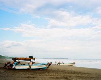 Shoving Off - Costa Rica, fishing, boats, beach, film, travel photography, Pacific Ocean