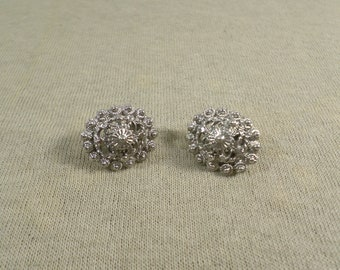 Vintage Silver Tone Dome Clip On Earrings DL# 4897