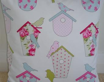 "20x20 Pillow Cover Pink Blue Bird Houses 20"" Decorative 50cm Cushion Slip Sham Case Pillowcase New Birds House 20""x20"" Birdhouse"