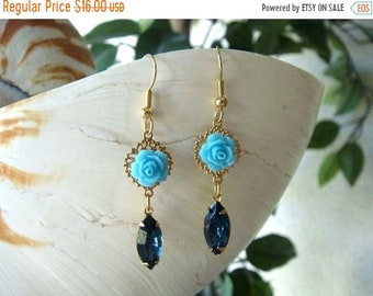 20% OFF Swarovski Crystal Filigree and Rose Delicate Dangle Earrings-Montana Blue-Vintage