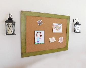 PLAYROOM DECOR - Bulletin Board - Cork Board - Message Board - Art Display - Boy Room - 36x48 - Shown in Olive Green - 30 Colors