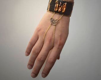 Pearl Leather Finger Chain Bracelet / Cuff
