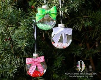 Lot de 3 ornement de disque de verre rouge vert blanc diamant, ruban Satin, ruban blanc argenté à carreaux de Vichy, décor d'arbre de Noël vacances