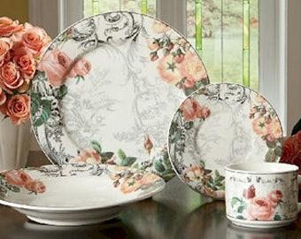 16 piece American Atelier \ Rose Toile\  & Toile dinnerware   Etsy