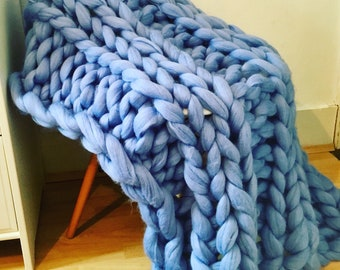 Beautiful blue Merino blanket