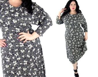 Plus Size Vintage Dress 1990's Floral Midi - Size XL