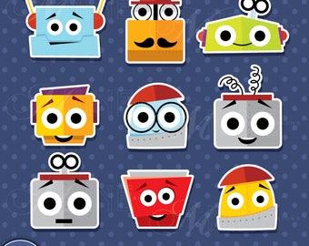 ROBOT HEADS Sticker Clip Art / Robot Heads Clipart Downloads / Robot Clipart, Vector Robots Sticker Clipart