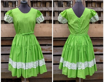 Vintage 1950's or 60's De LORIS Lime Green with White Lace Detail Square Dance Dress With Full Circle Skirt