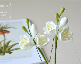 Wedding hair accessories Wedding Hair pins Ivory flower Hair flower Wedding hair piece Freesia Bridal hair pin Bride accessory Ivory wedding