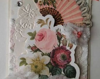 Handmade Shabby chic Tag Gift/Card Lace and Pink Fan/Flower