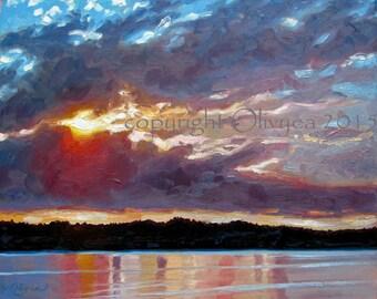 "Island Sunset Painting, Original Oil on canvas, Landscape, Beach, Sunrise over water, Impressionistic, Large...16 x 20"""