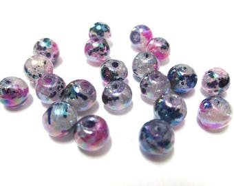 20 speckled blue and pink sparkly glass beads 6mm