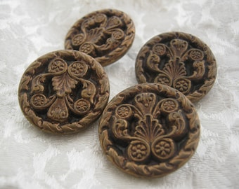 X 4 Antique french metal collectible buttons
