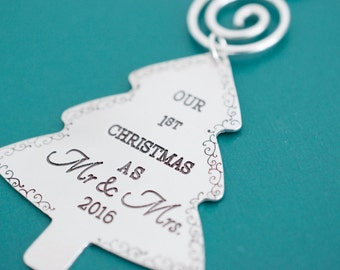 Our First Christmas as Mr and Mrs Ornament - Christmas Tree Ornament - Hand stamped Christmas Ornament