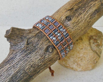 Beaded Leather Cuff: Blue & Copper Mix, Statement Bracelet, Layering Bracelet, Single Wrap Bracelet, 3rd Anniversary, Gift for Her
