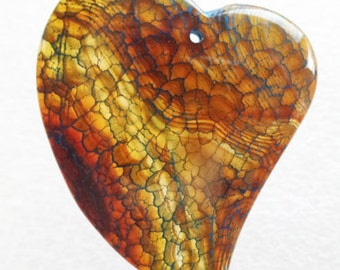 Exquisite Dragon Veins Agate Heart Pendant Bead
