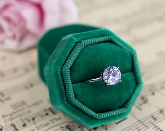 Velvet Octagon Ring Box For Weddings, Engagements, Gifts for the Bride, Gifts for Bridesmaids, Choose Your Color