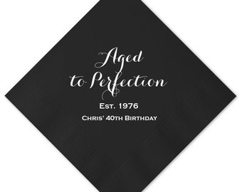 Aged to Perfection Birthday Personalized Napkins