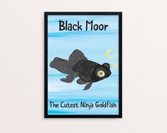 "Black Moor Goldfish 8.5x11"" Art Print"