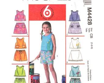 Girls Sewing Pattern Top Skorts & Shorts McCalls 4428 Sleeveless Top Ruffle Hem Skirt Toddler Size 1 2 3 UNCUT