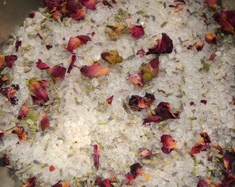 Lavender + Rose Bath Salts    12 oz. Natural Bath Soak    Botanical Bathing Salts by WELLBnB
