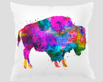 Watercolor Buffalo Throw Pillow, Watercolor Buffalo Pillow, Pillow Cover, Accent Pillow, Nursery Decor, Kids Room Decor