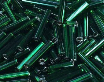 12mm Bugle Beads - Silver Lined Green 20 grams