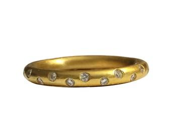 22k Gold Diamond Ring - Diamond Band - Stacking Ring- Wedding Band