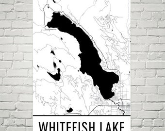 Whitefish Lake Montana, Whitefish Lake MT, Whitefish Lake Map, Montana Map, Lake Map, Whitefish Lake Art, Montana Art, Montana Print