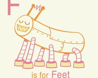 Roboter-Alphabet drucken - F ist für Füße, Roboter Kinderzimmer Dekoration, Wanddekoration Kleinkind, Kind Wandkunst, Roboter Alphabet Kunst Buchstabe F Kunst
