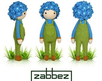 "Crochet pattern amigurumi doll ""Hydrangea Hank"" PDF"