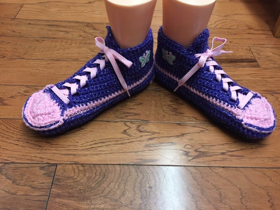 Crocheted sneakers sneaker 8 tennis slippers shoes slippers List pink butterfly purple 10 shoes crochet slippers butterfly 379 tennis Womens rSWExwqvZS