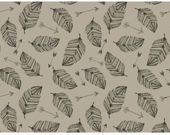 Feathers and Arrows in Biscuit French terry