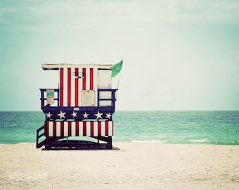 Miami Beach photograph, tropical decor, beach art, lifeguard, Miami, Florida, art print - Americano
