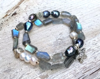 Labradorite Freshwater Pearl  Minimalist  Beaded  Bracelet  Set   Sterling Silver Star Fish For Her Under 250 Free Gift Wrap