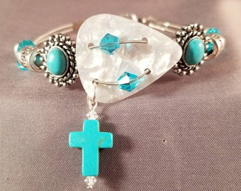 "Guitar String and Guitar String Bracelet ""Turquoise Cross"""