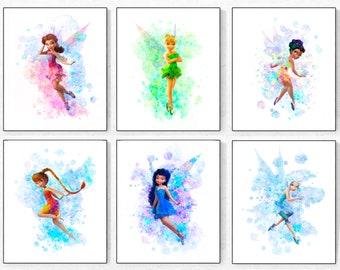 Fairies Print Set-Tinkerbell Print-Periwinkle Print-Iridessa Print-Fawn Print-Rosetta Print-Silvermist Print- Fairy Watercolor-Fairy Decor