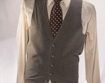 Men's Suit Vest / Vintage Navy Blue Pinstripe Waistcoat / Size 34 / Small