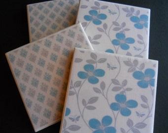 Flower Coasters ~ Damask Coasters ~ Turquoise Coaster ~ Gray Coaster ~ Ceramic Tile Coasters ~ Housewarming Gift ~ Victorian Coasters