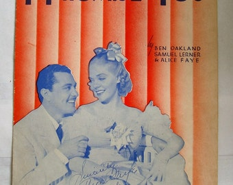 "ORIGINAL 1938 sheet music  for The song ""I PROMISE YOU"" in used  condition, See Description for more info"