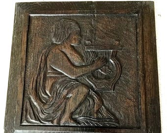 Carved Wood Musician Plaque