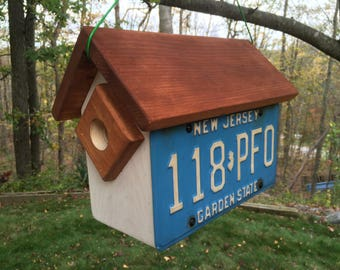 Handmade, Handcrafted New Jersey License Plate Condo Birdhouse: Two Birdhouses in One!